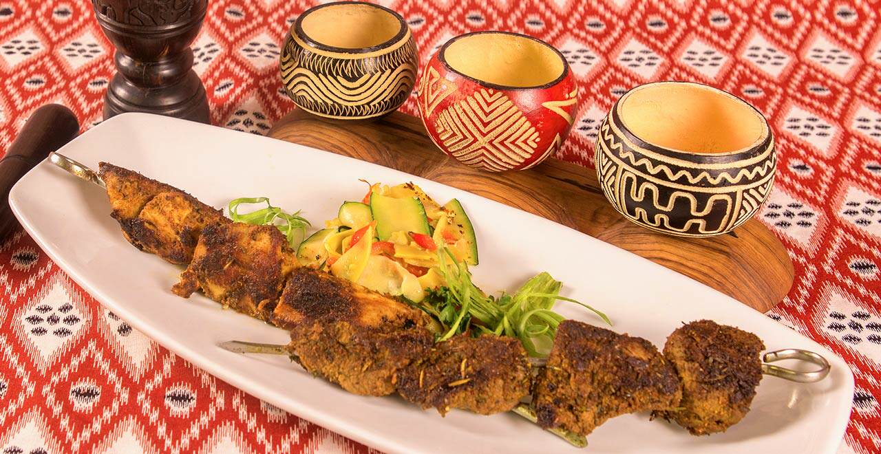 Kabobs at Jambo Café African-Caribbean Fusion